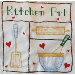Torchon brodé Kitchen art