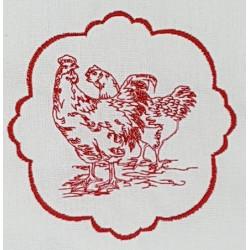 Torchon brodé Poulette