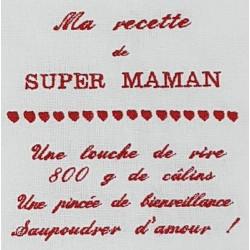 Torchon brodé Super maman,...