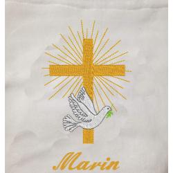 Couverture de baptême brodée