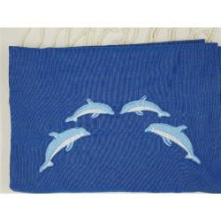 Fouta bleue brodée Dauphins