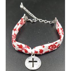 Bracelet fleuri croix dans...